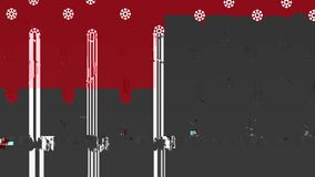 A christmas animation with fir tree Santa Claus deer and snowflake on a red background - animation. A christmas animation with fir tree Santa Claus deer and royalty free illustration