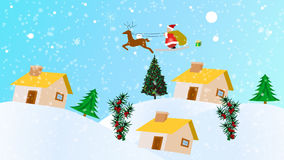 Christmas Animation. High Definition Christmas Animation of Santa Claus Dropping presents into Chimneys stock illustration