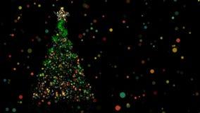 Christmas animation of pine tree and bokeh lights royalty free illustration
