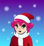 Christmas anime girl. With pink hair Royalty Free Stock Photo
