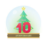 Christmas Anniversary 10 Years. The Christmas anniversary 10 years logo Royalty Free Stock Photos
