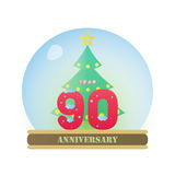 Christmas Anniversary 90 Years. The Christmas anniversary 90 years logo Stock Image
