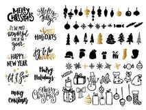 Christmas ans New Year design set. Holiday decoration elements: noel, balls, snowflakes, gifts. Hand written lettering. Royalty Free Stock Images
