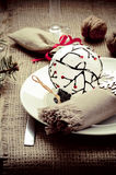 Christmas ans New Year table decoration with walnuts Royalty Free Stock Image