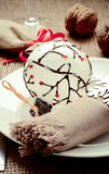 Christmas ans New Year table decoration with walnuts Royalty Free Stock Photography