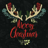 Christmas antlers postcard cover design. Calligrap Royalty Free Stock Photo