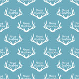 Christmas antlers silhouette seamless pattern. Xmas deer Illustration. Animal head texture. Design for textile, wallpaper, web, fa Stock Images