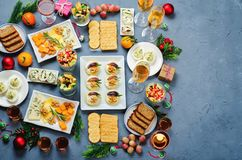 Christmas appetizers celebration table setting royalty free stock image