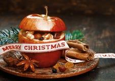 Christmas Apple with Anise, Lace, Cinnamon Sticks Stock Photos