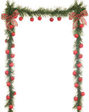 Christmas Apple Border. A 3-sided Christmas border composed of evergreens, apples and bows on a white background Royalty Free Stock Image