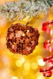 Christmas apple on fir tree branch Royalty Free Stock Image