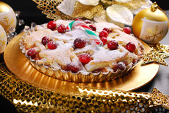 Christmas apple pie  with cranberry in glamour style Stock Photography
