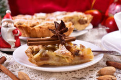 Christmas apple pie on plate Royalty Free Stock Photo