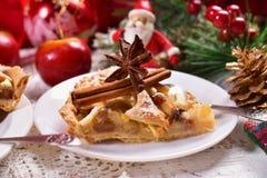 Christmas apple pie on plate Royalty Free Stock Photos