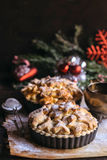 Christmas apple pie served Stock Photo