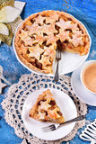 Christmas apple pie with star shape decoration Royalty Free Stock Photos