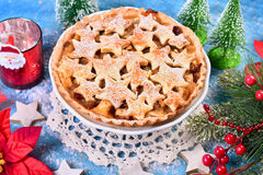 Christmas apple pie with star shape decoration Royalty Free Stock Photography