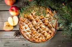 Christmas apple pie royalty free stock photo