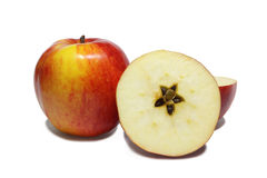 Christmas apples. Christmas motive - star section of apple on white background Royalty Free Stock Photos