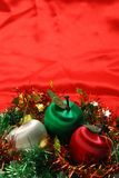 Christmas Apples On Red Cloth Stock Photography