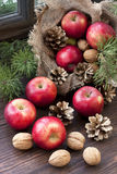 Christmas apples  on wooden table Stock Photo