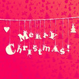 Christmas applique background. Garland of letters Merry Christmas. Stitch design Royalty Free Stock Photo