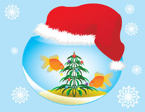 Christmas Aquarium. Vector Image elegant, Christmas aquarium for your design Royalty Free Stock Photo