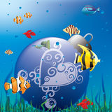 Christmas aquarium. With fishes and Christmas ornament Royalty Free Stock Images