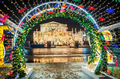 Christmas arch. New Arch overlooking the Grand Theatre Stock Photos