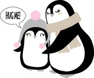 Christmas arctic penguin waving wings and smiling. Cute cartoon xmas pinguin in beanie hat standing and spreading hands for hug. Vector family on white stock illustration