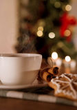 Christmas aroma. Closeup image cup of coffee with cinnamon and traditional christmas cookies Royalty Free Stock Photography