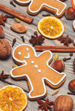 Christmas aroma decor. Gingerbreads with spices on the wooden table. Christmas aroma decor Stock Image
