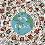 Christmas around the world. Hand drawn doodle faces with Merry Christmas signs in different languages vector illustration