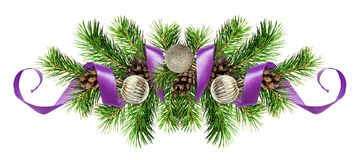 Christmas arrangemen with pine twigs, silver balls and purple ri Stock Images