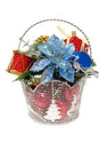 Christmas arrangement. Decorative Christmas basket centerpiece on a white background Royalty Free Stock Image