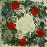 Christmas Arrangement. Photograph of an acrylic painting Arrangement with christmas symbols like red holy fruits, silver snow flowers and green leafs Royalty Free Stock Images
