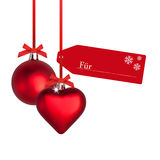 Christmas arrangement with baubles. Christmas arrangement with red baubles Royalty Free Stock Photo
