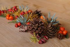 Christmas arrangement with berries and fir cones Stock Photos