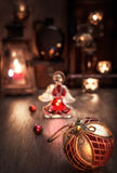 Christmas arrangement with candles, bauble and glass angel Royalty Free Stock Photos