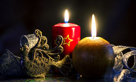 Christmas arrangement of candles and shiny decor, greeting card, Stock Image