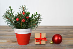 Christmas arrangement, Christmas gift and bauble Stock Images