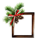 Christmas arrangement and a frame for photo or text Stock Photography