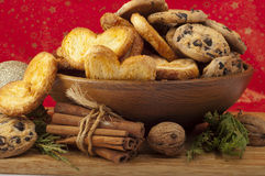 Christmas arrangement of fresh homemade cookies and cinnamon Royalty Free Stock Image