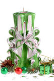Christmas arrangement with hand made candles Royalty Free Stock Photo
