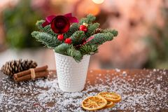 Christmas arrangement with Norwegian pine Nobilis and decorated with Christmas decor in a coffee Cup. Garland bokeh on stock photo