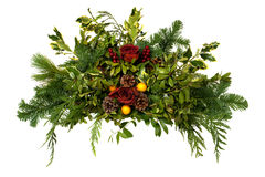 Christmas Arrangement with Pine Cones Isolated Royalty Free Stock Image