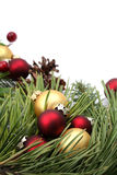 Christmas arrangement with red and gold ornaments Stock Image