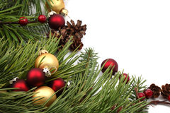 Christmas arrangement with red and gold ornaments Stock Photos