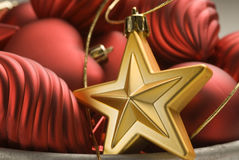 Christmas arrangement. Red  and golden ornaments. Stock Images
