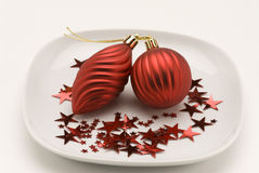 Christmas arrangement. Red ornaments. Royalty Free Stock Photography